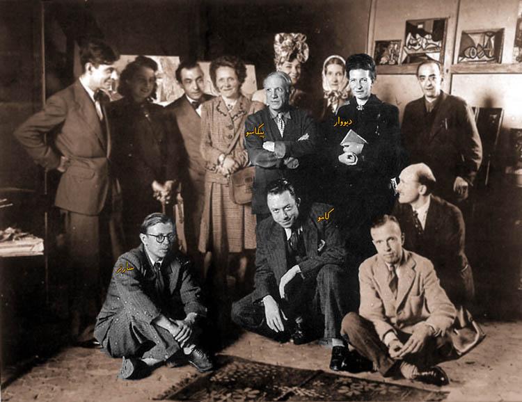 ژان پل سارتر - آلبر کامو - سیمون دوبووار - پابلو پیکاسو